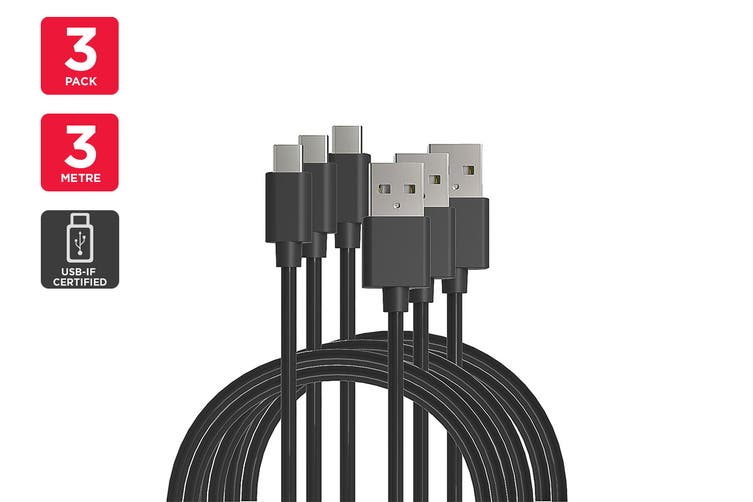 3 Pack USB Type-C to Type-A Cable IF Certified (Black) (3m)
