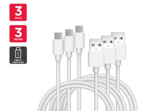 3 Pack USB Type-C to Type-A Cable IF Certified (White) (3m)