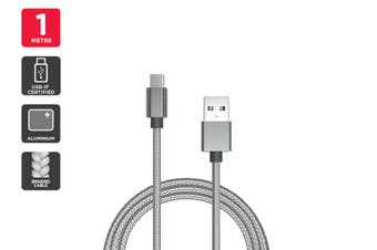 USB Braided Type-C to Type-A Cable IF Certified (Silver) (1m)