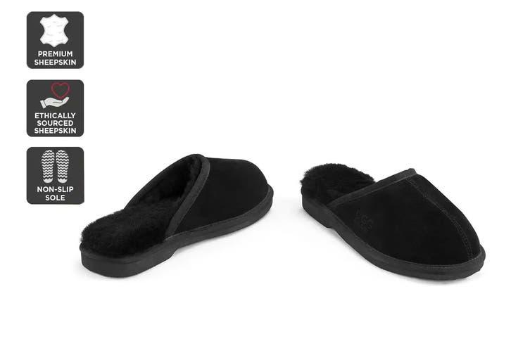 Outback Ugg Slippers Barwon - Premium Sheepskin (Black, Size 8M / 9W US)