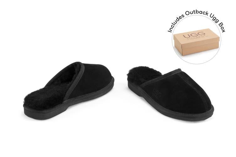 Outback Ugg Slippers Barwon - Premium Sheepskin (Black, Size 6M / 7W US)