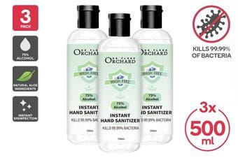 75% Alcohol Antibacterial Instant Hand Sanitiser (500ml) - 3 Pack