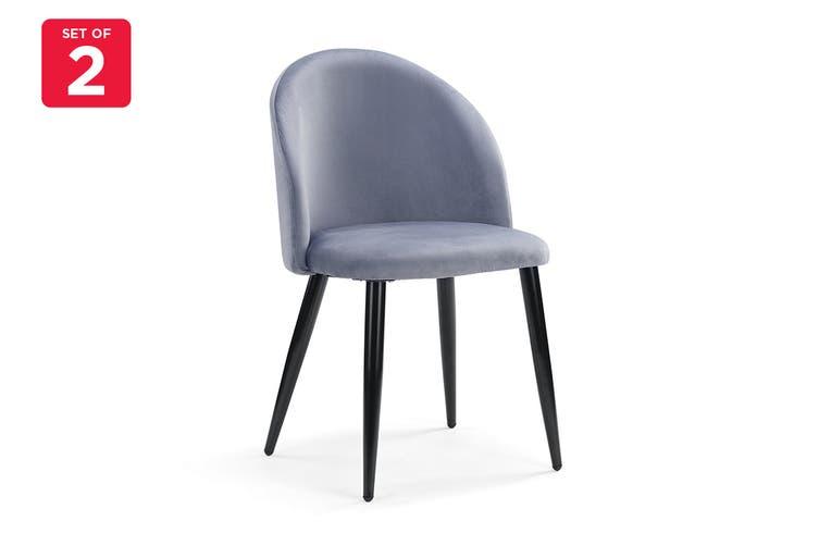 Ovela Ashton Set of 2 Velvet Dining Chair (Charcoal)