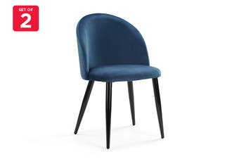 Ovela Ashton Set of 2 Velvet Dining Chair (Dark Teal)