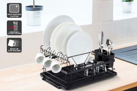 Ovela 2 Tier Dish Drainer Rack With Cutlery Holder
