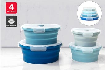 Ovela 4 Piece Round Collapsible Silicone Container Set