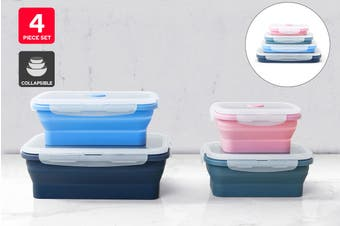 Ovela 4 Piece Rectangular Collapsible Silicone Container Set