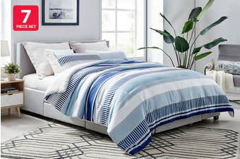 Ovela 7 Piece Bed in a Bag Comforter Set (King, Stripes)