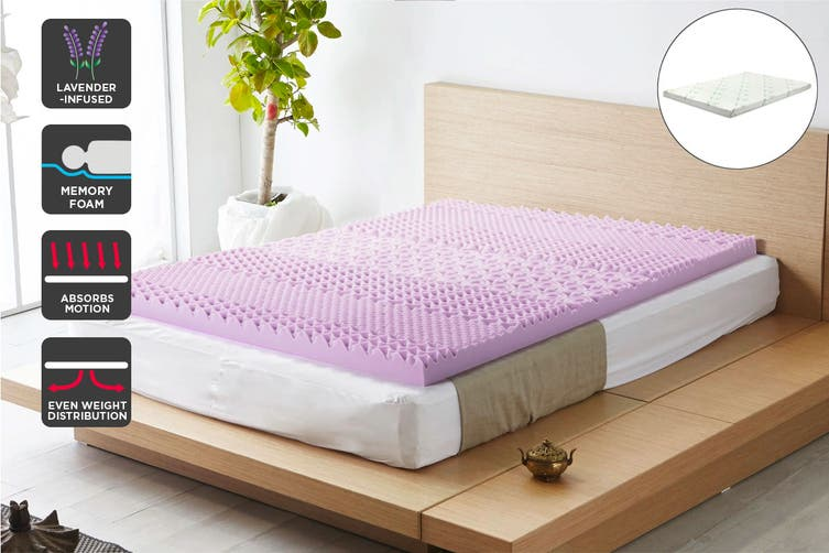Ovela 7 Zone 8cm Thick Lavender Infused Memory Foam Mattress Topper with Bamboo Cover (Queen)