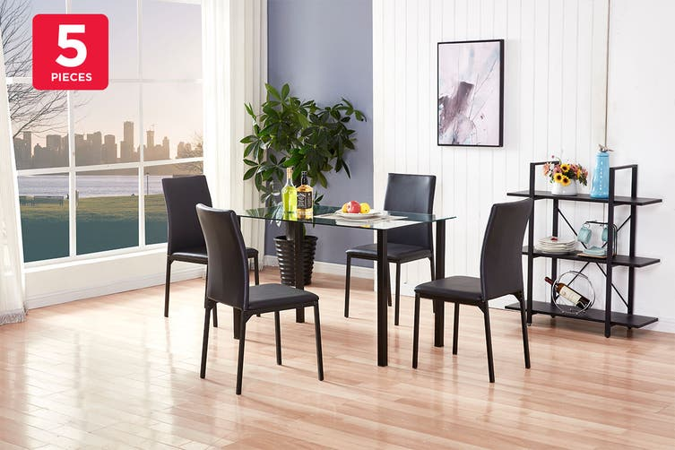 Ovela Ascot 5 Piece Dining Table & Chair Set (Glass/Black)