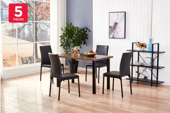 Ovela Ascot 5 Piece Dining Table & Chair Set (Wood/Black)