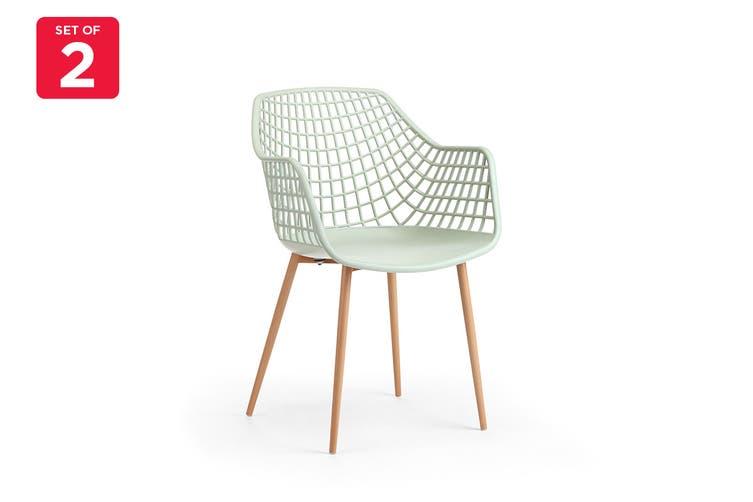 Ovela Set of 2 Leerdam Armchairs (Pastel Green)