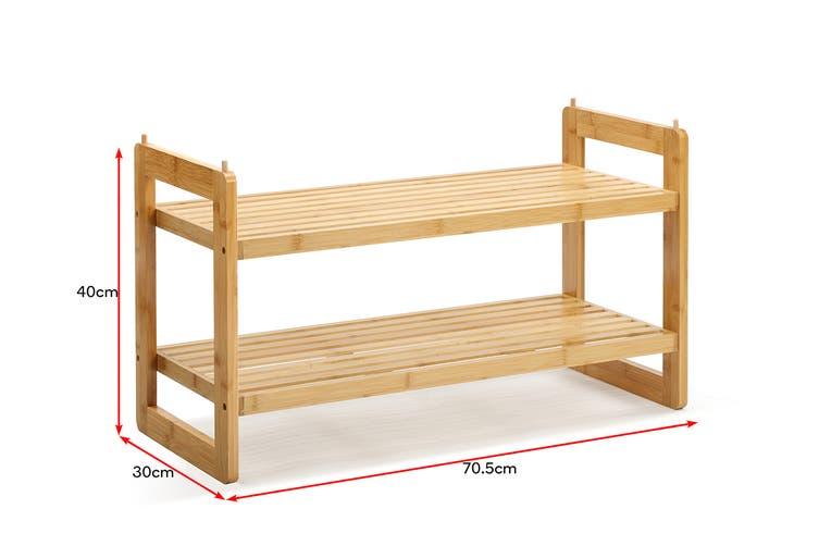 Ovela Bamboo 2-Tier Shoe Rack