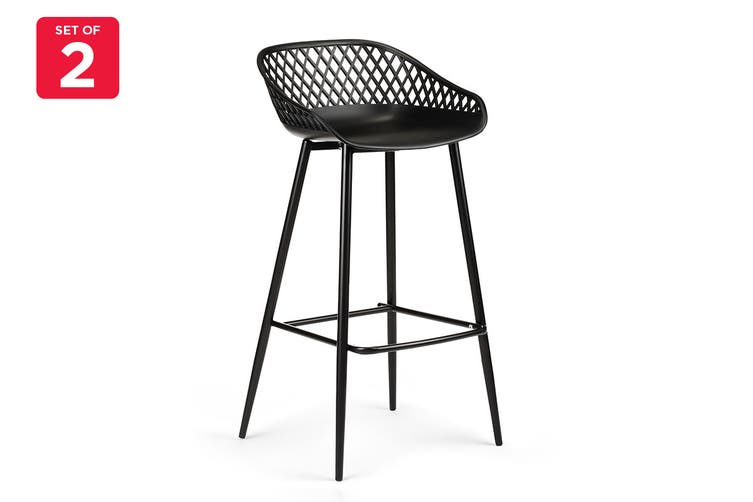 Ovela Set of 2 Leerdam Bar Stools (Black)
