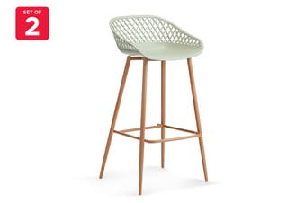 Ovela Set of 2 Leerdam Bar Stools (Pastel Green)