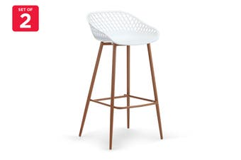 Ovela Set of 2 Leerdam Bar Stools (White)