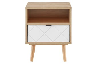Ovela Banbury Bedside Table (White/Oak)