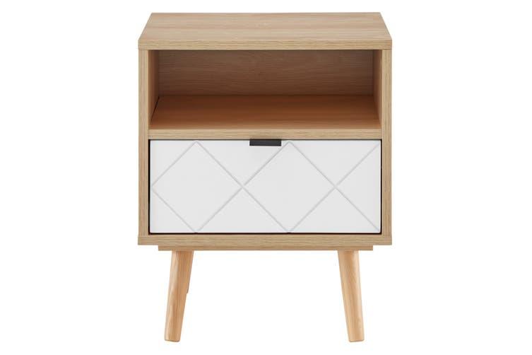 Ovela Banbury Bedside Table (White/Oak)