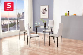 Ovela Batley 5 Piece Dining Table & Chair Set (Glass/Grey)