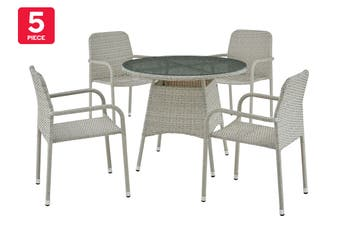 Ovela Bronte 5 Piece Outdoor Furniture Dining Set (Creme)