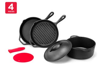 Ovela 4 Piece Pre-Seasoned Cast Iron Set with Silicone Accessories