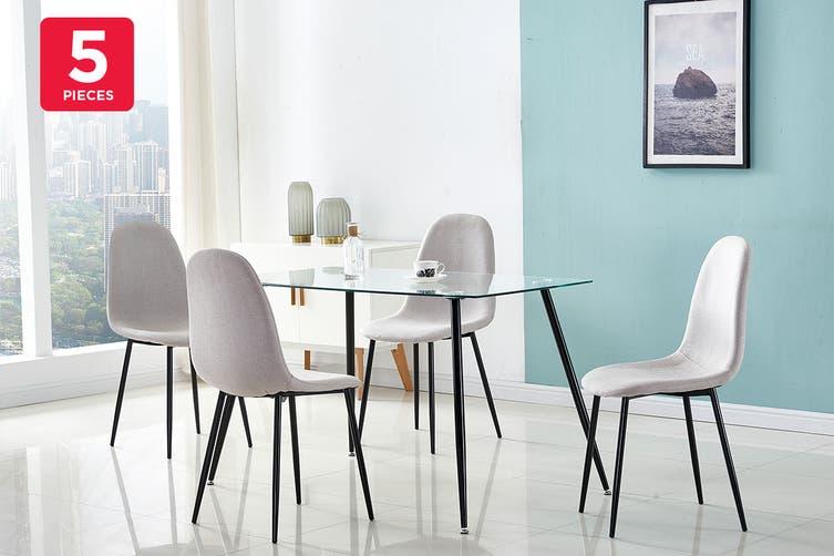Ovela Camden 5 Piece Dining Table & Chair Set (Glass/Grey)