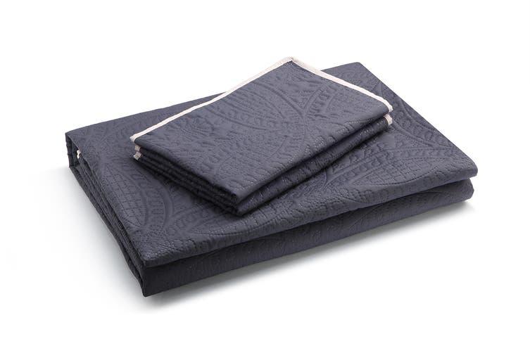Ovela Calia Embossed Reversible Coverlet Set (Charcoal/Nude)