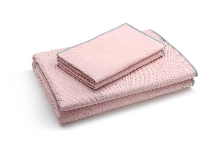 Ovela Hazel Embossed Reversible Coverlet Set (Pink/Silver)