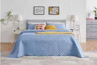 Ovela Naia Coverlet Set (King, Blue)