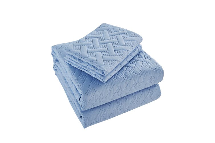 Ovela Naia Coverlet Set (Queen, Blue)