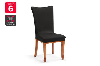 Ovela Pack of 6 Set Dining Chair Cover (Black)