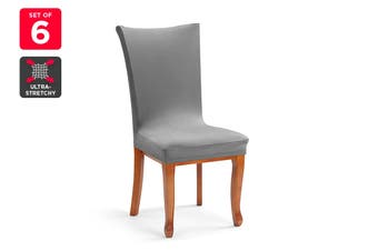 Ovela Pack of 6 Set Dining Chair Cover (Charcoal)