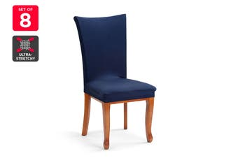 Ovela Pack of 8 Set Dining Chair Cover (Navy)