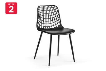 Ovela Set of 2 Leerdam Dining Chairs (Black)