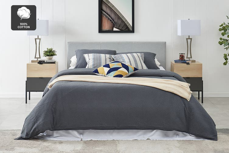 Ovela Deluxe Cotton Waffle Quilt Cover Set (Queen, Charcoal)