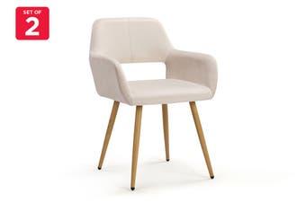 Ovela Set of 2 Elise Velvet Dining Chairs (Beige)