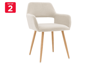 Ovela Set of 2 Elise Velvet Dining Chairs (Beige)