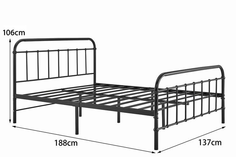 Ovela Florence Metal Bed (Black, Double)