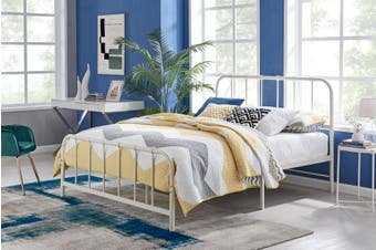 Ovela Milan Metal Bed (White, Queen)