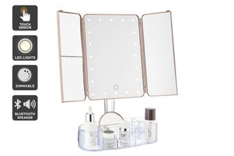 Ovela Fold Out Makeup Mirror + Makeup Storage (Rose Gold)