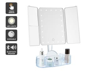 Ovela Fold Out Hollywood Makeup Mirror + Makeup Storage (White)