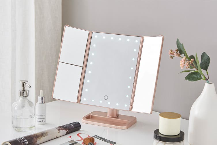 Ovela Fold Out Hollywood Makeup Mirror (Rose Gold)