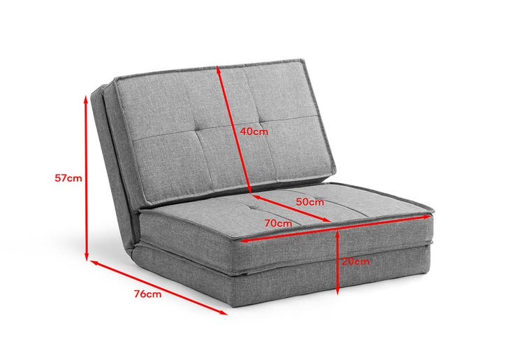 Ovela 2-in-1 Lounge Chair and Futon (Grey)