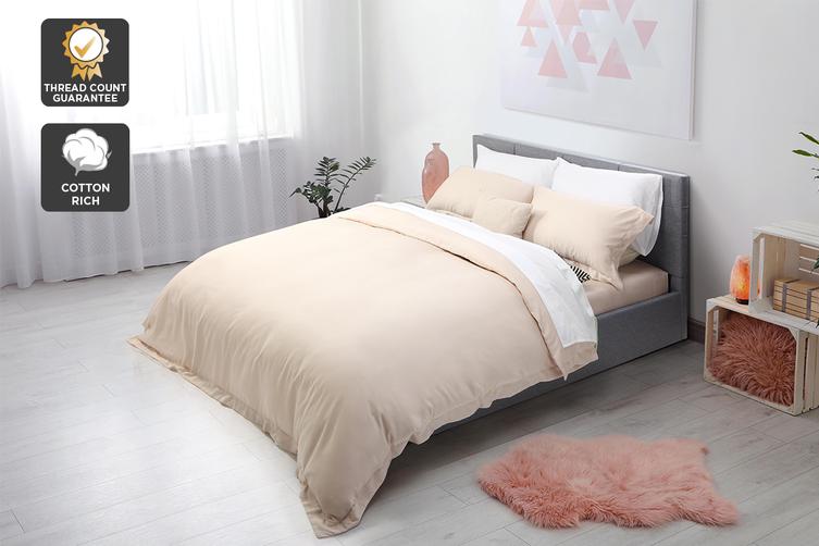 Ovela Hotel Quality 1000TC Cotton Rich Quilt Cover Set (Queen, Sand)