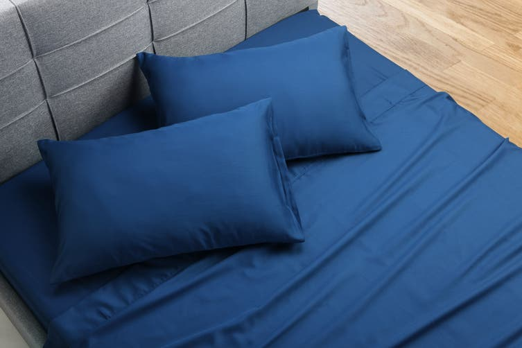 Ovela Hotel Quality 1000TC Cotton Rich Bed Sheet Set (Double, Twilight Blue)