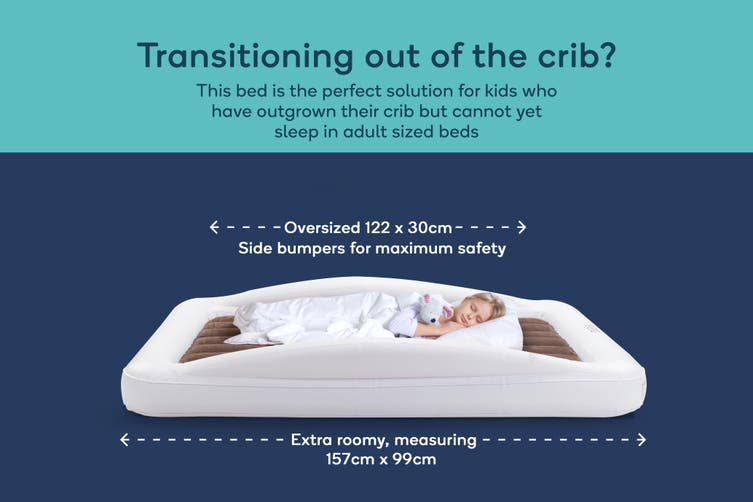 Ovela Inflatable Toddler Travel Bed with Safety Bumper and Electric Pump