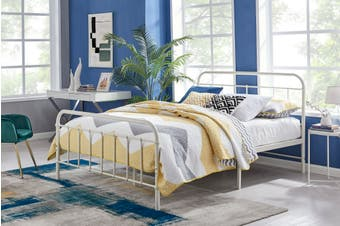 Ovela Florence Metal Bed (White, Queen)