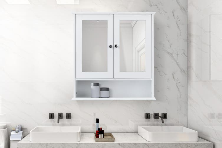 Ovela Olivia Bathroom Mirror Cabinet, Rose Gold Bathroom Mirror Cabinet