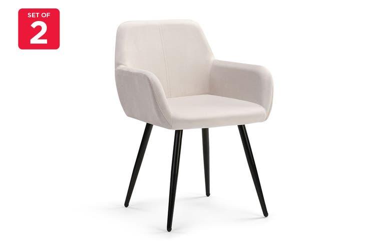 Ovela Set of 2 Paige Velvet Dining Chairs (Beige)