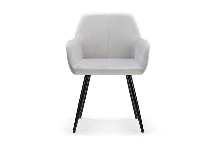 Ovela Set of 2 Paige Velvet Dining Chairs (Light Grey)